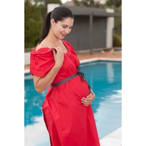 Designer Mamas Birthing Gown Classic Red Shoulder