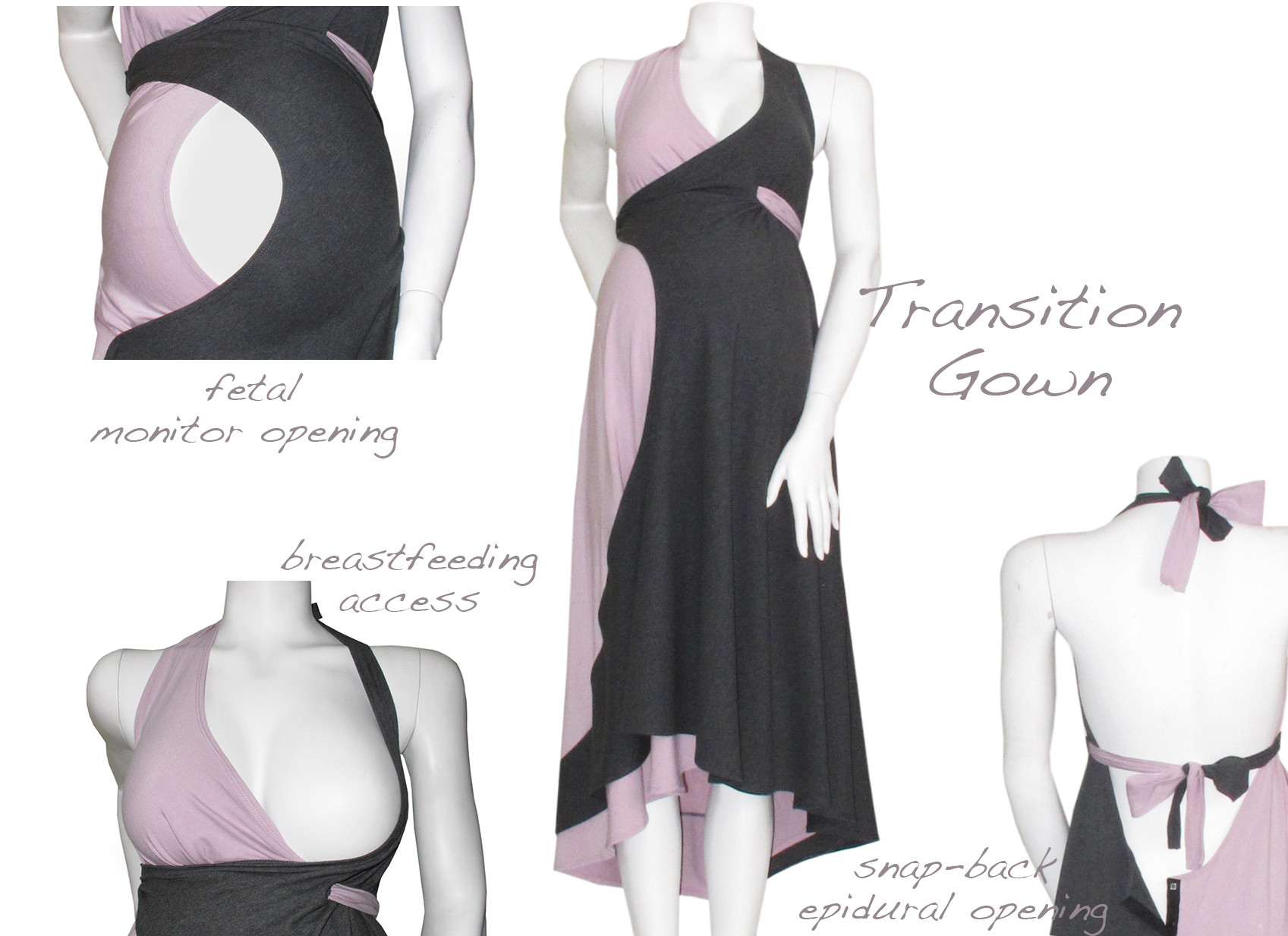 pretty pushers transition gown features