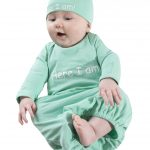 Mint green Here I am baby romper and hat set