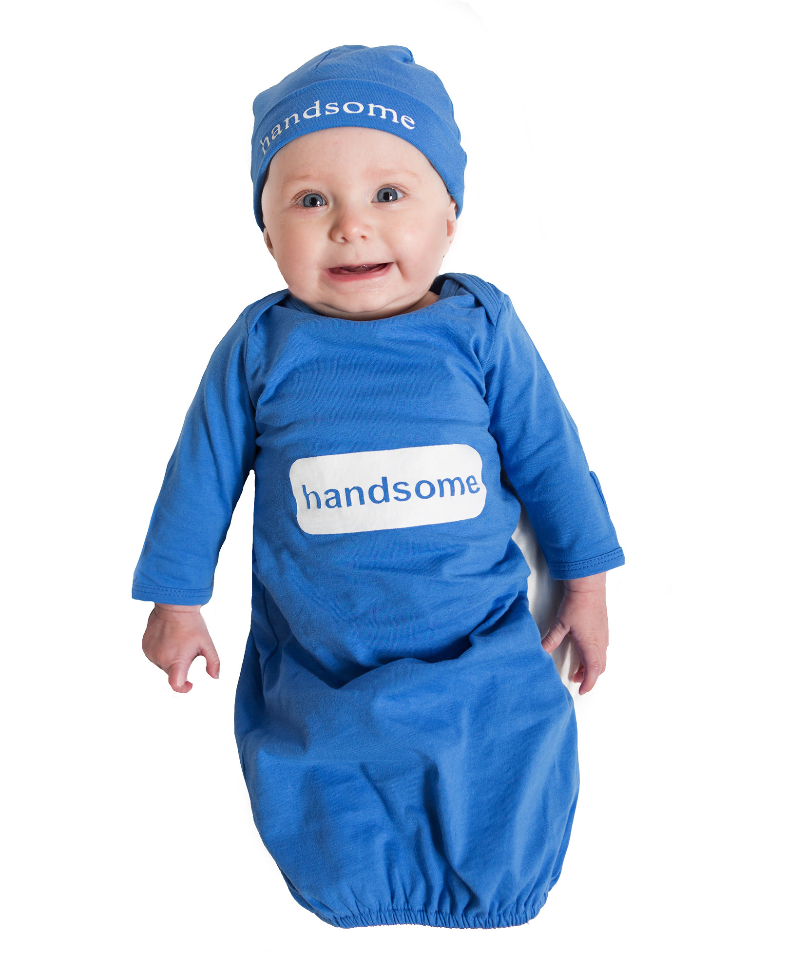 blue handsome baby romper and hat set