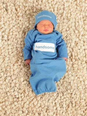 blue handsome baby romper set