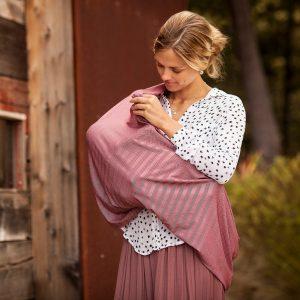 Marsala bebe au lait nursing scarf in use