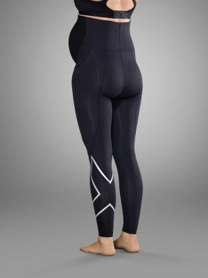 2XU prenatal leggings black and silver back