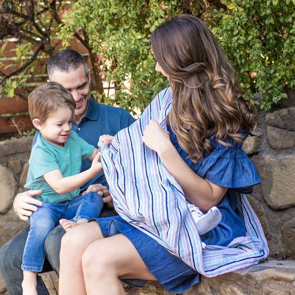 Bebe au lait muslin nursing scarf Candy Stripes in use