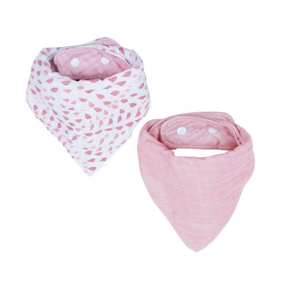 Bebe au lait Classic Muslin Bandana Bibs Rose Quartz Petal