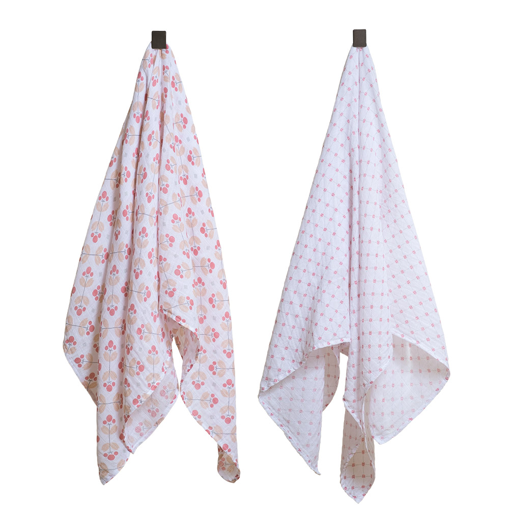 Bebe au lait Muslin Swaddle blankets Dewberry and Lattice