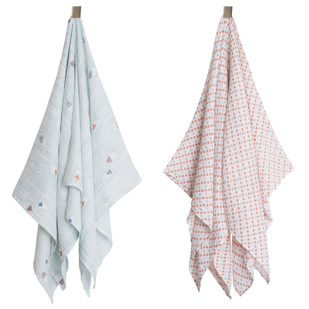 Bebe au lait Muslin Swaddle blankets Little Owl and Tinsley