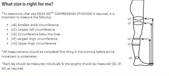 Jinni Maternity Compression Stockings Sizing Instructions