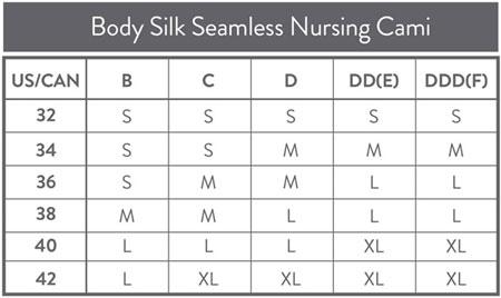 Bravado Body Silk Nursing Cami Size Chart