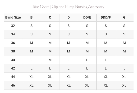 Bravado Clip and Pump Sizing Chart