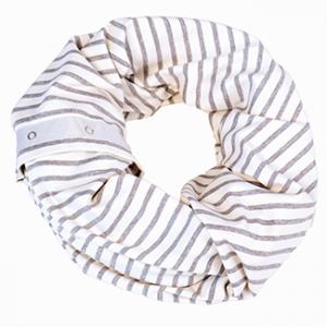 Nuroo Nursing Scarf Gray and Ivory Stripe